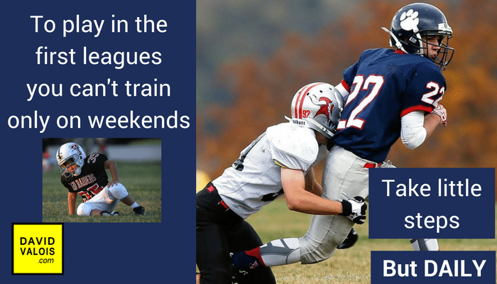 To play in the first leagues you can't train only on weekends.